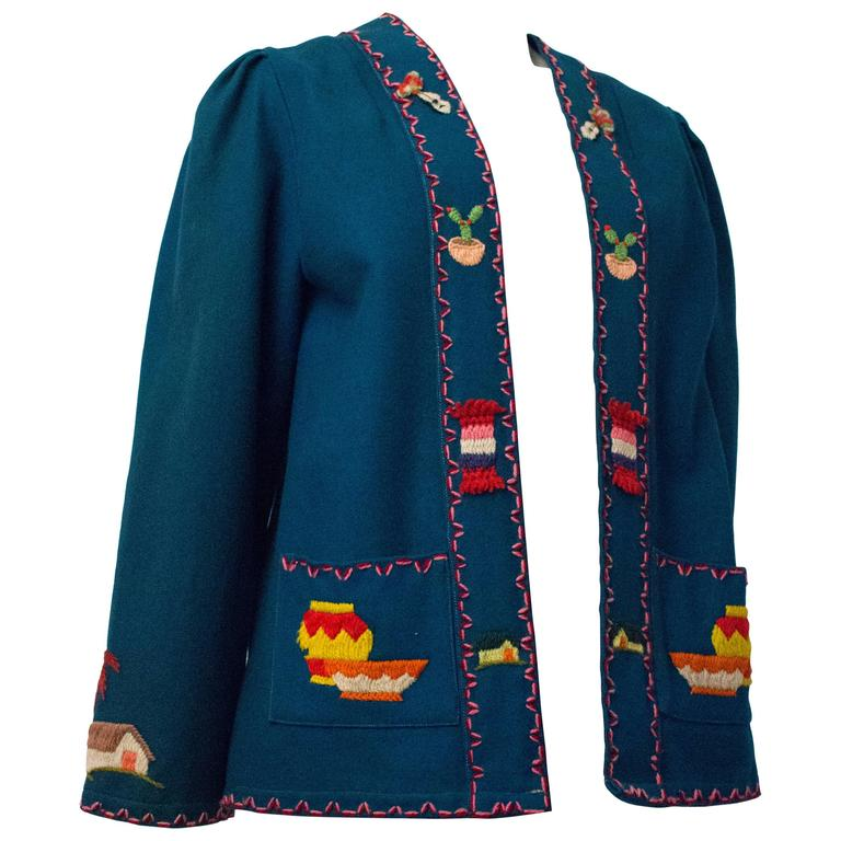 50s Blue Wool Souvenir jacket with Hand Embroidered Scene