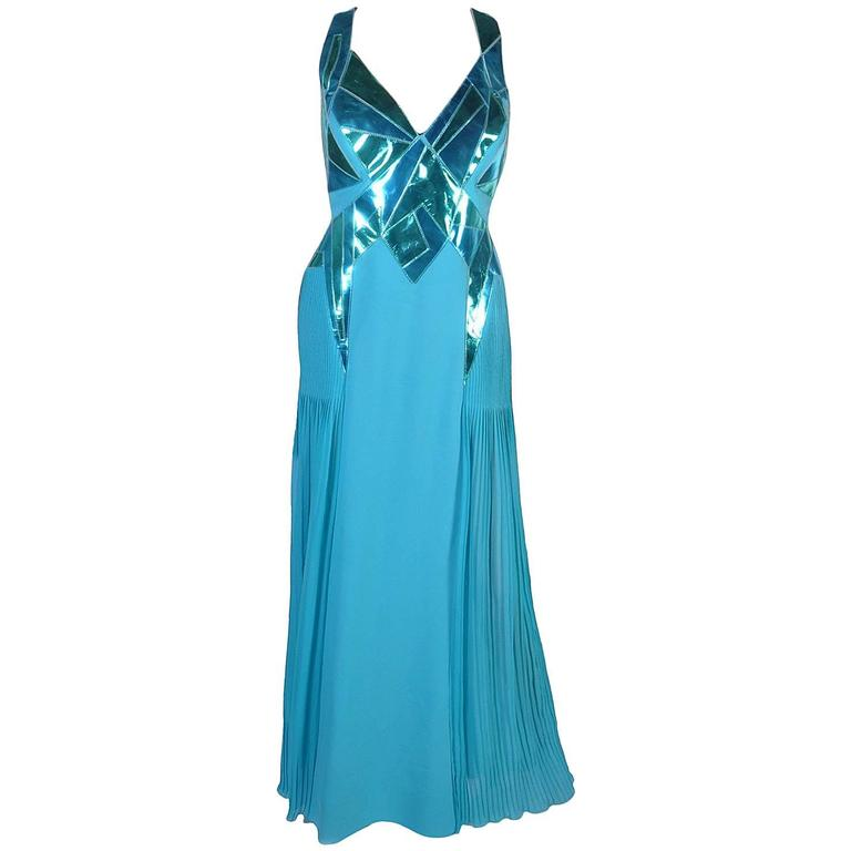 VERSACE Turquoise Silk and Patent Leather Gown 1