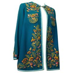 60s Teal Blue Handmade Souvenir Jacket with Floral Embroidery
