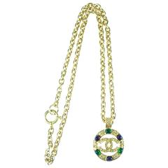 Chanel Vintage Gold Chain with gripoix and CC Logo Medallion Pendent