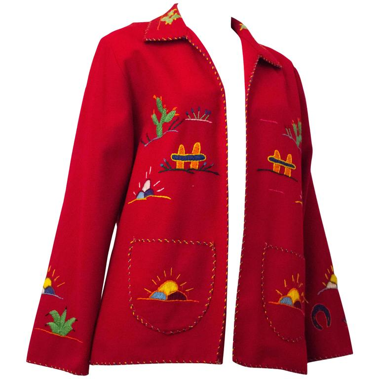 50s Red Wool Embroidered Souvenir Jacket