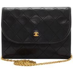 """Vintage Chanel 7"""" Flap Black Quilted Leather Shoulder Mini Bag"""