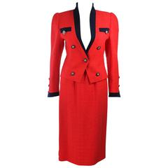 "AKRIS ""The Butler"" JANE FONDA Red and Black Contrast Boucle Suit Size 4"