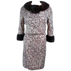 Burgundy Floral Brocade Metallic 1960's Mink Trim Dress Ensemble Size 4