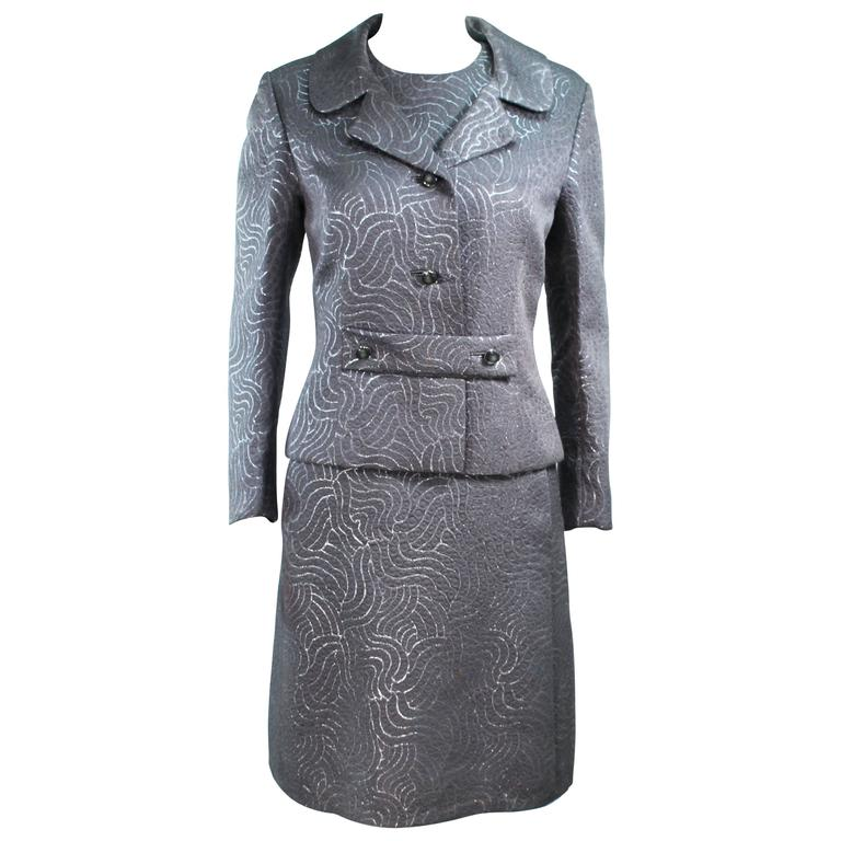 Silver Metallic 1960's Brocade Dress and Coat Ensemble Size 10