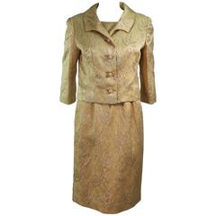 ANDREW ARKON 1960's Yellow Brocade Dress Ensemble Size 4