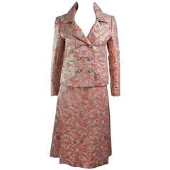Jimi Fox Peach & Gold Brocade Skirt Suit with Rhinestone Buttons Size 6