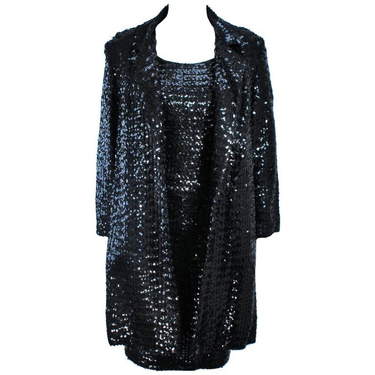 Sabett California 1960s Black Sequin Coat And Dress Ensemble Size