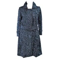 BULLOCKS WILSHIRE Gunmetal Wool Sequin Trench Coat Size 6