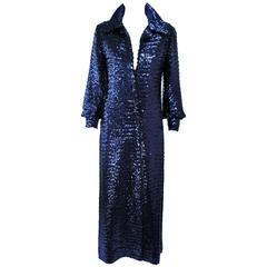 Vintage JILL RICHARDS Full Length Blue Sequin Coat Size 4 6