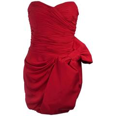 MARCHESA NOTTE Lipstick Red Cocktail Dress with Bow Size 6