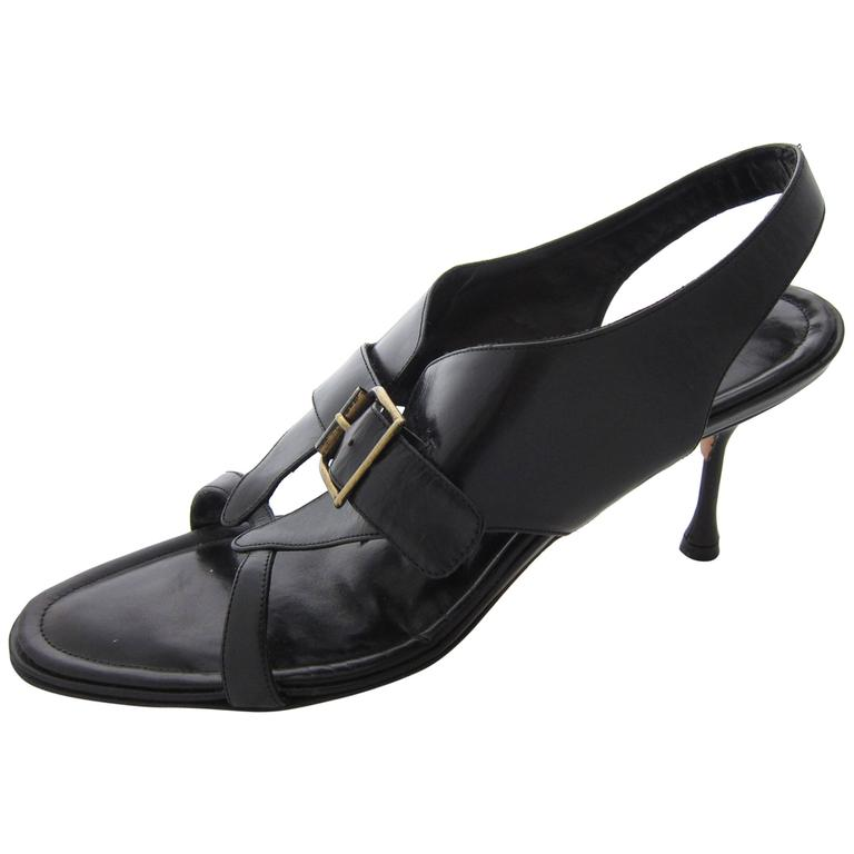 Manolo Blahnik Black Leather Sandals Size 7 For Sale