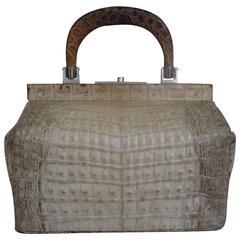 exclusive petite crocodile/alligator leather top handle handbag 9.84 inch