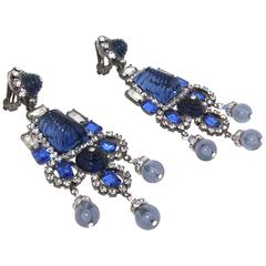 Statement Blue Earrings by Lawrence Larry Vrba