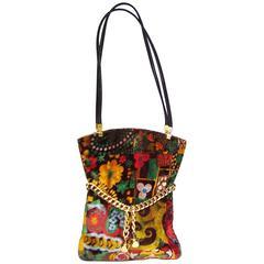 Mod 1960's Harry Rosenfeld Floral Velvet Handbag With Gold Chain Detail
