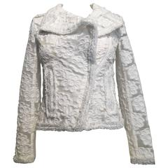 Chanel Sheer White Floral Jacket size 34 (2)