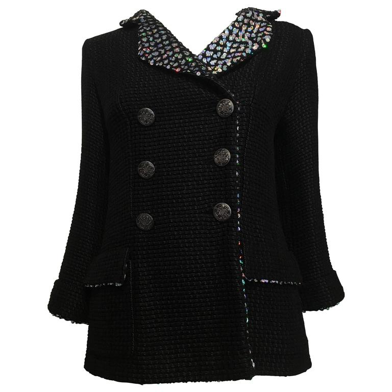 Chanel Black Woven Coat with Silver Sequins size 34 (2) For Sale