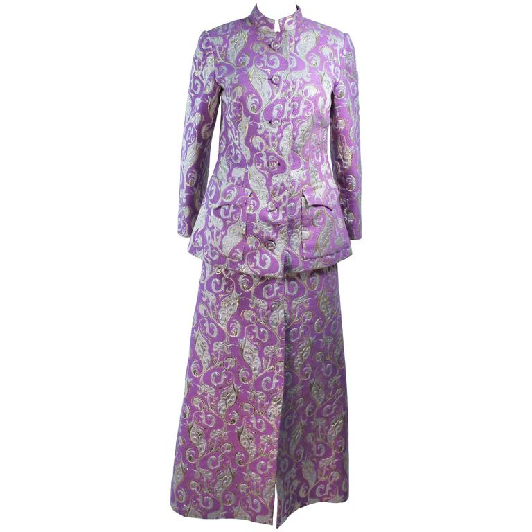 Purple 1960's Wool Metallic Brocade Ensemble with Maxi Skirt Size 10