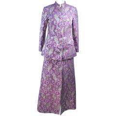Purple 1960's Wool Metallic Brocade Ensemble with Maxi Skirt Size 10