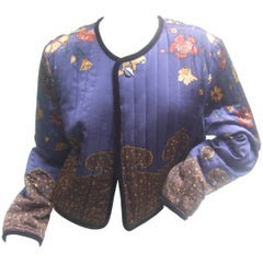 Exotic Silk Paisley Floral Quilted Jacket by Worth