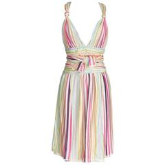 Missoni Runway Plunging V Pastel Faux Wrap Dress