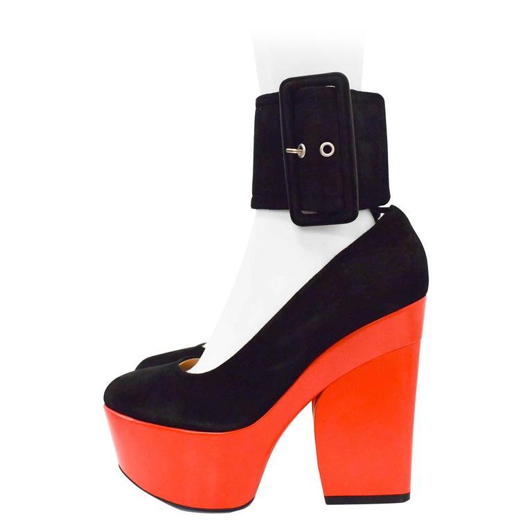 Celine S/S12 Black Suede and Red Leather Platform Ankle Strap Heels Size 38.5 1
