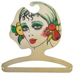 Mod Italian Graphic Woman Plastic Clothing Hanger c 1970s