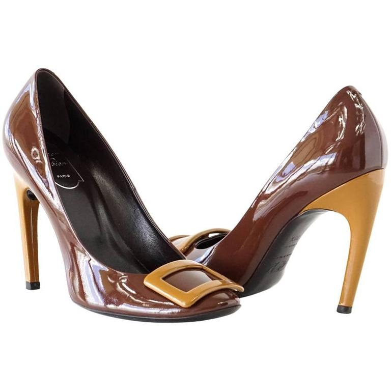 ROGER VIVIER Shoe Brown Patent Leather Caramel Heel 39.5   9.5 For Sale