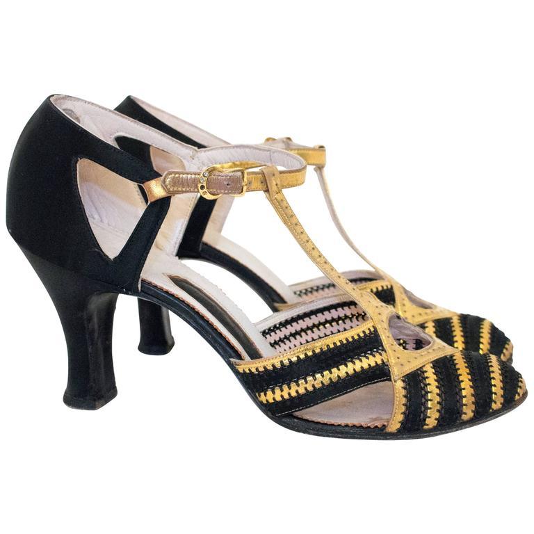 20s Black & Gold Lamé T-Strap Heels