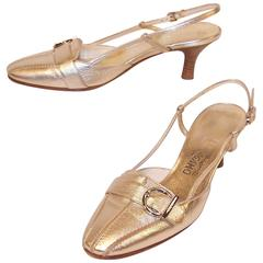 Vintage Ferragamo Platinum Leather Slingback Loafer Style Pumps