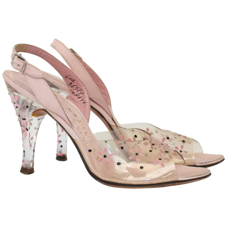 50s Pink Lucite Heels with Floral Painted Embellishment  1