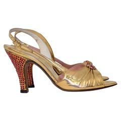 50s Fenton Saks Fifth Ave Gold Slingback Heels