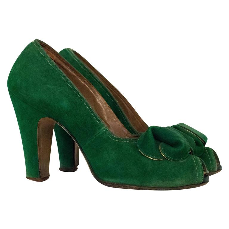 30s Paradise Shoes Green suede Heels For Sale