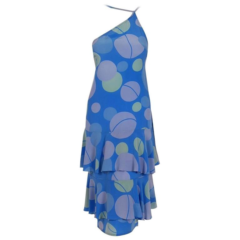 1975 Karl Lagerfeld for Chloe Periwinkle Deco Print Silk Asymmetric Tiered Dress