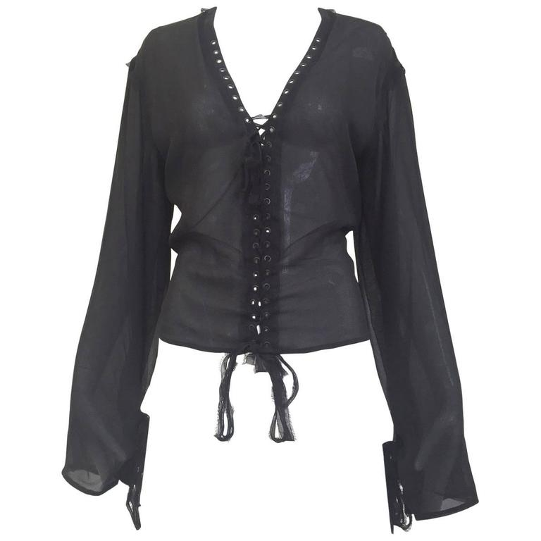 Yves Saint Laurent by Tom Ford black silk blouse 1