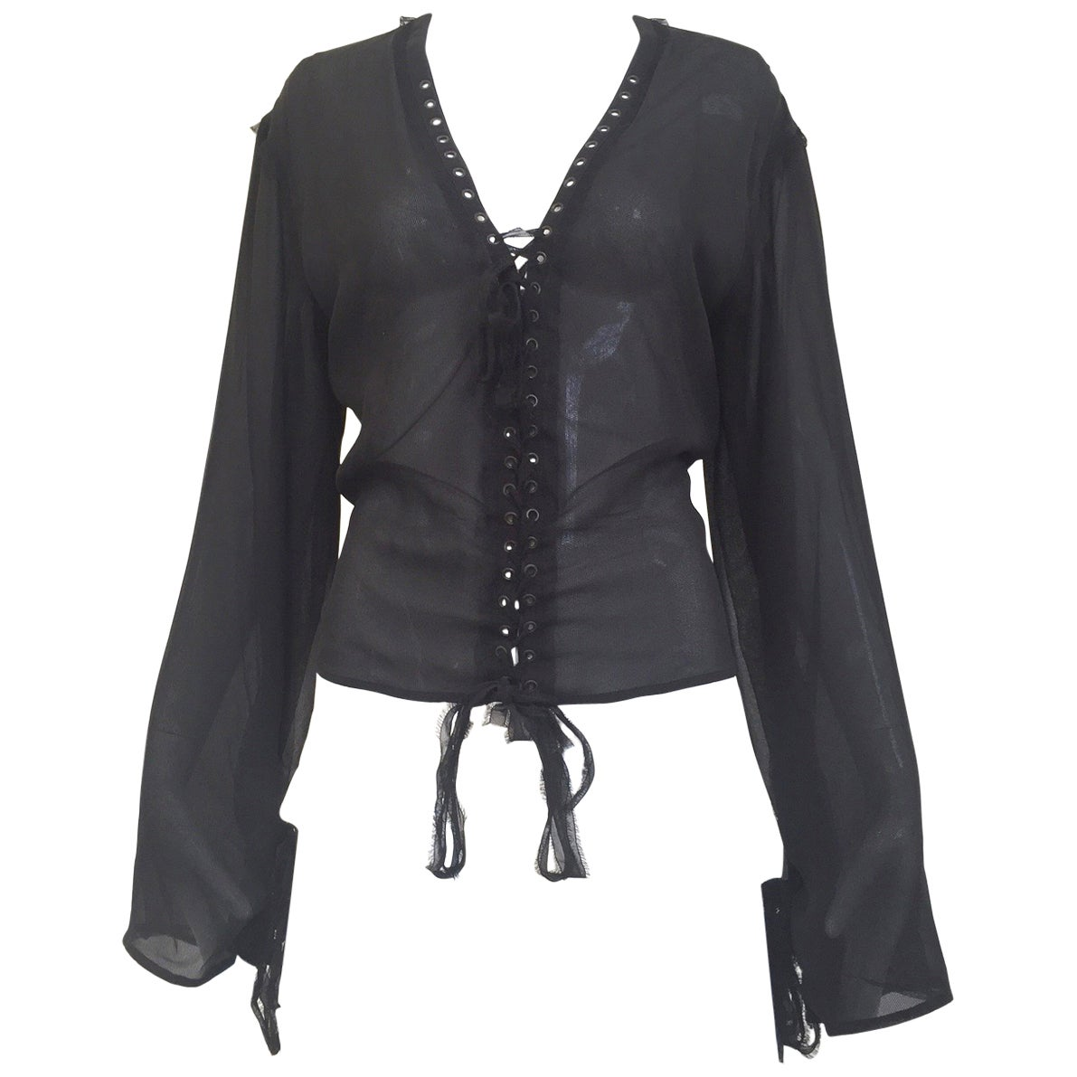 0f7a6e4fedb Yves Saint Laurent by Tom Ford black silk blouse For Sale at 1stdibs