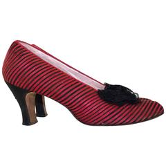 20s Magenta Striped with Lace Bow Heels