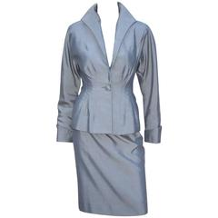 C.1980 Anne Klein Sharkskin Gray Skirt Suit With 1940's Inspiration