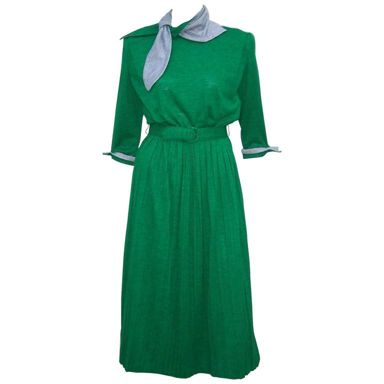 1940's Emerald Green & Gray Wool Knit Dress With Micro Pleating & Scarf