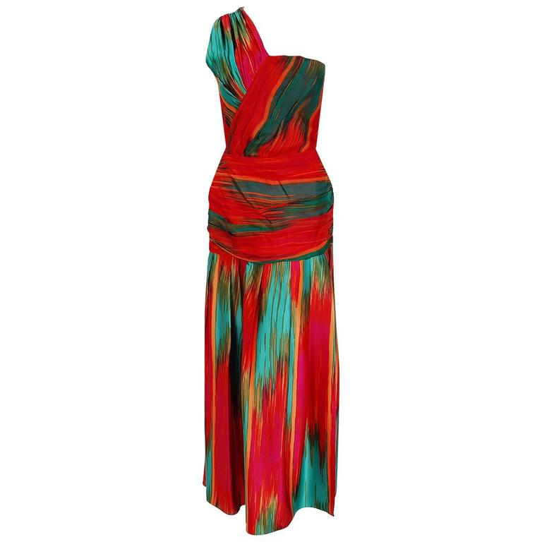 1970's Lillie Rubin Colorful Abstract Print Silk One-Shoulder Grecian Dress Set