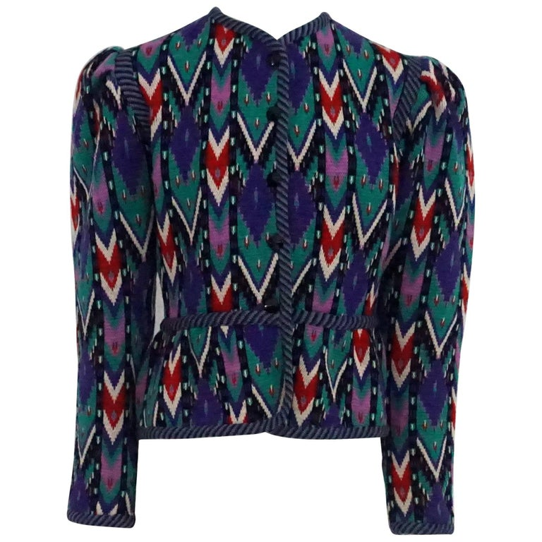 Yves Saint Laurent Rive Gauche Multi-Color Patterned Wool Knit Jacket - 42-70's
