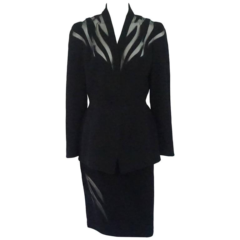Thierry Mugler Black Wool Skirt Suit with Mesh Cutout Design - 42 - 1980's