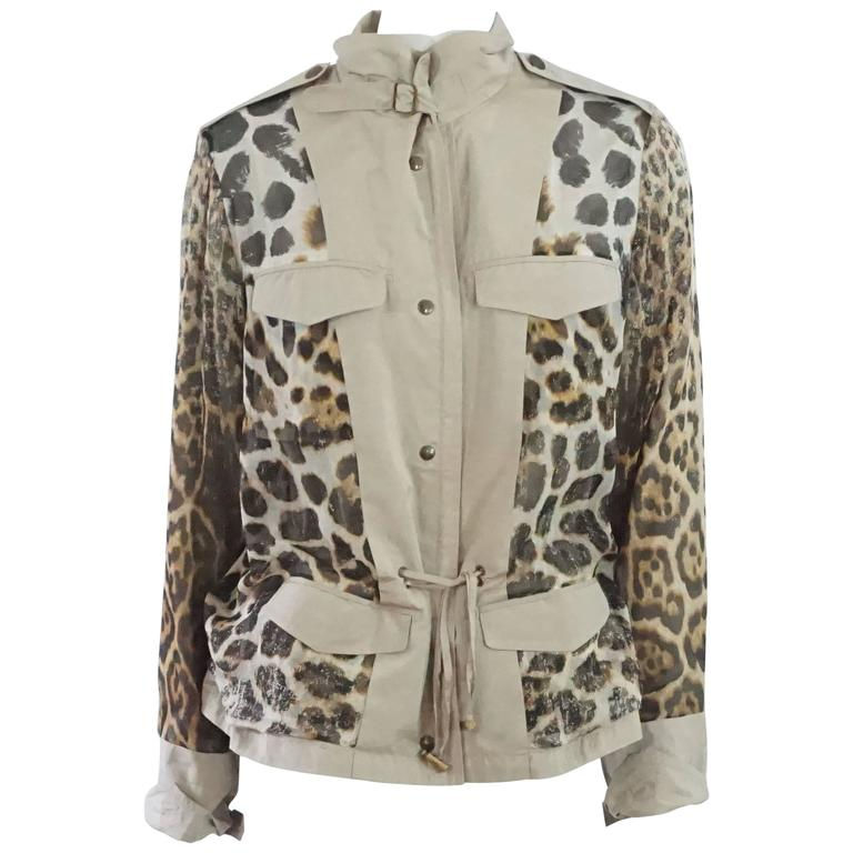 YSL Beige & Animal Print Reversible Rain Jacket - 42