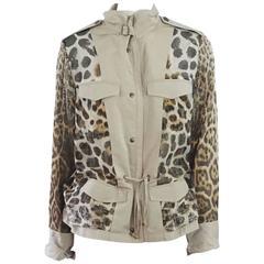 YSL Beige & Animal Print Reversible Rain Jacket - 42