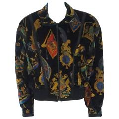 Escada by Margaretha Ley West German Multi Printed Velvet Jacket - 38 - 1980's