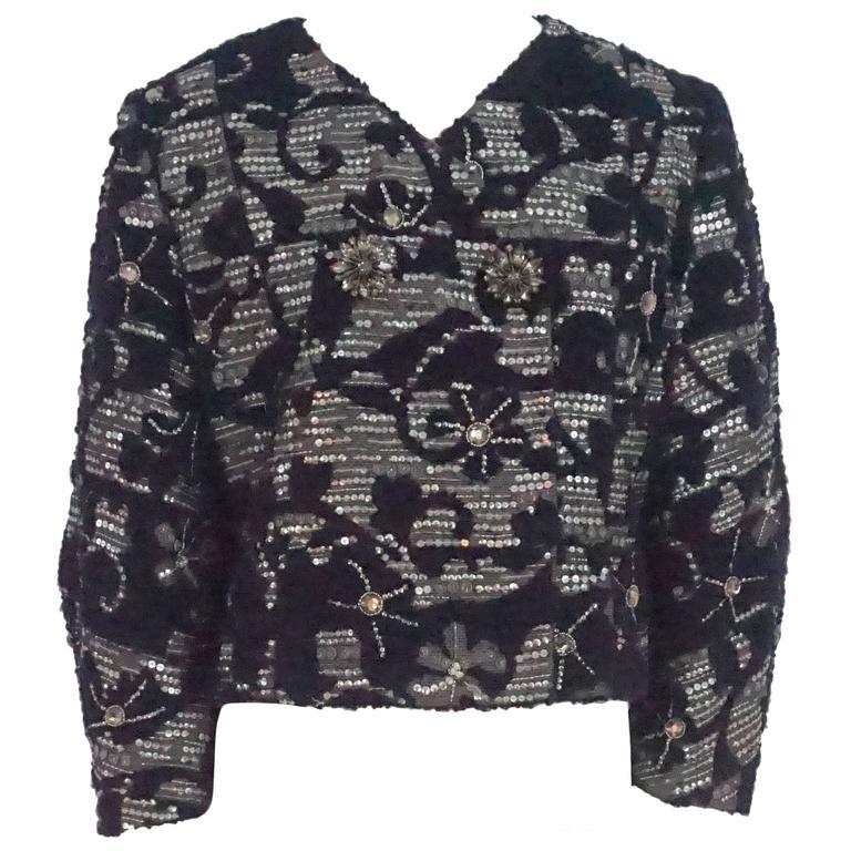 Oscar de la Renta Eggplant & Silver Tweed Jacket with Rhinestones - 10 For Sale