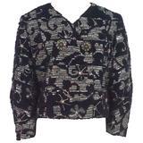 Oscar de la Renta Eggplant & Silver Tweed Jacket with Rhinestones - 10