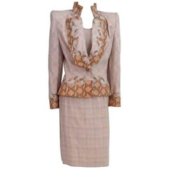 Givenchy Couture Pink Houndstooth Skirt Suit and Top with Snake Detail, 1990s
