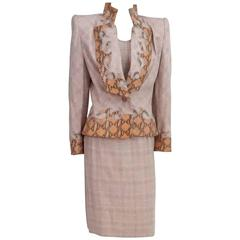 Givenchy Couture Pink Houndstooth Skirt Suit &Top with Snake Detail - 40 - 1990'