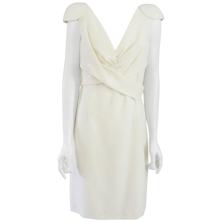 Alexander McQueen Ivory Wool Dress with Crossed Front Design - 46